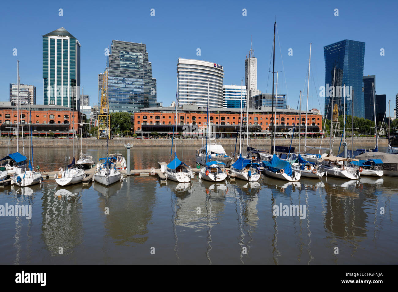 Old warehouses and office buildings from marina of Puerto Madero, San Telmo, Buenos Aires, Argentina, South America - Stock Image
