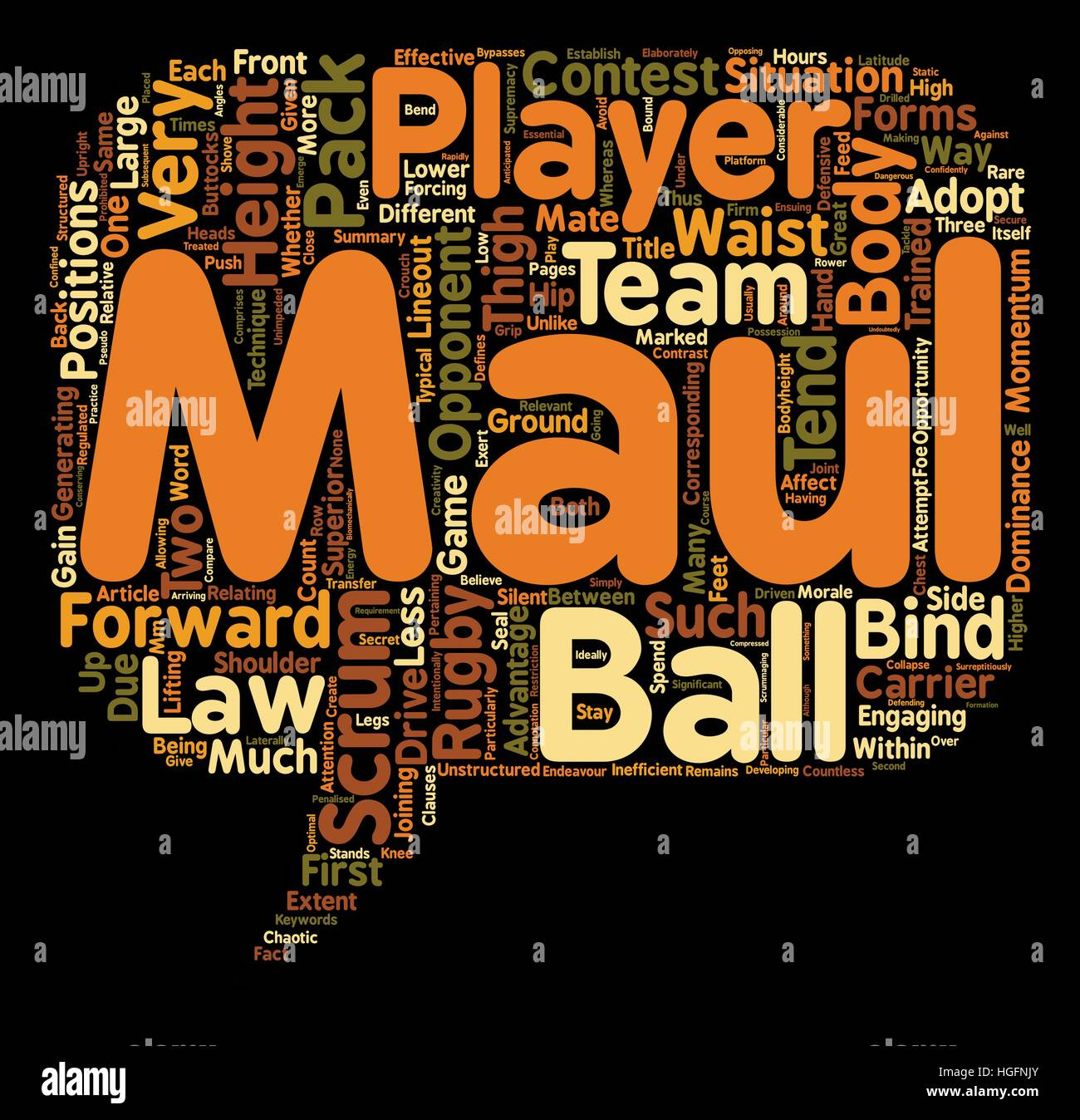 Why do rugby players scrum and maul at such different body heights text background wordcloud concept - Stock Image