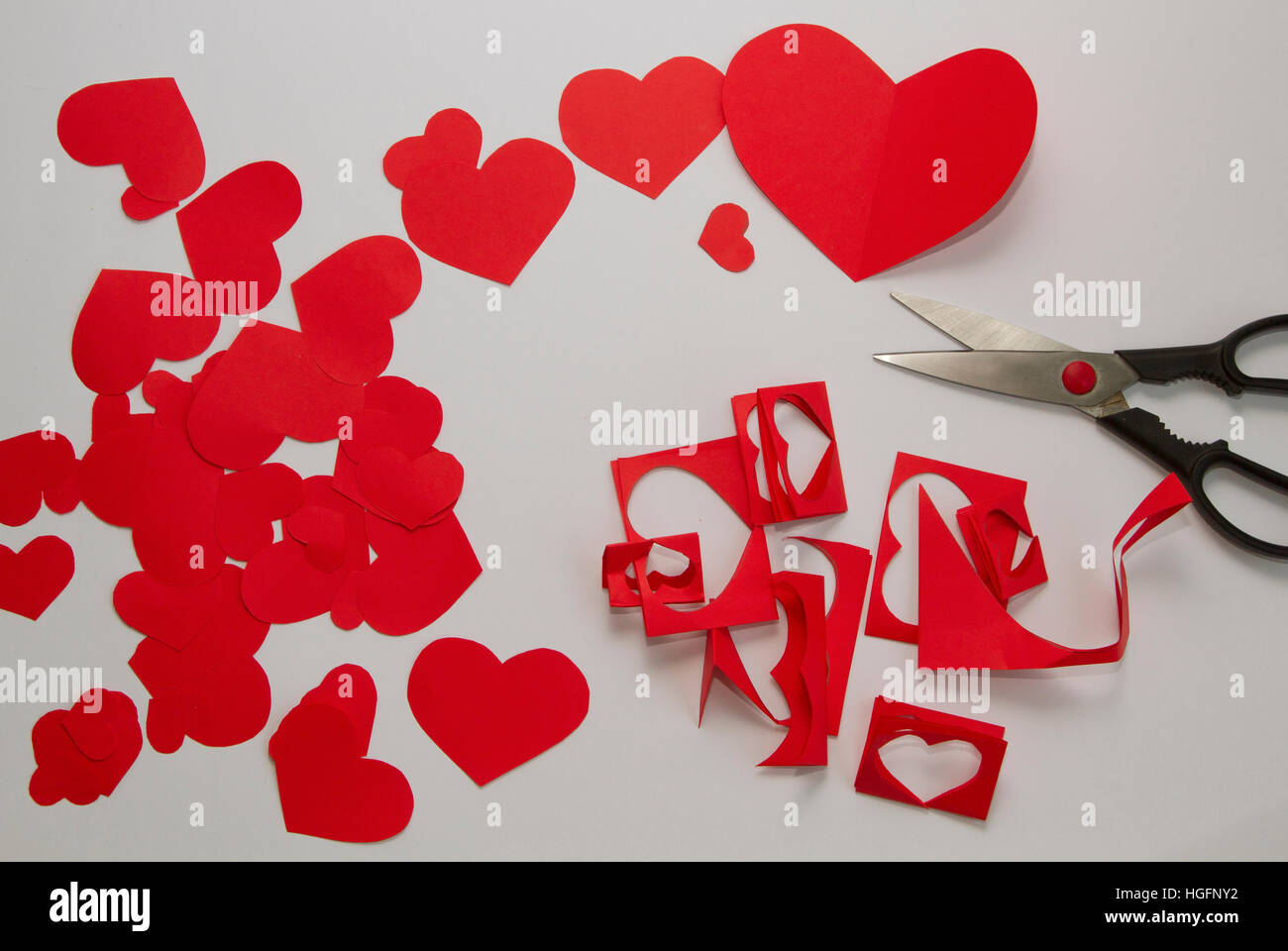 Preparation Of Greeting Cards For Valentines Day From Red Paper