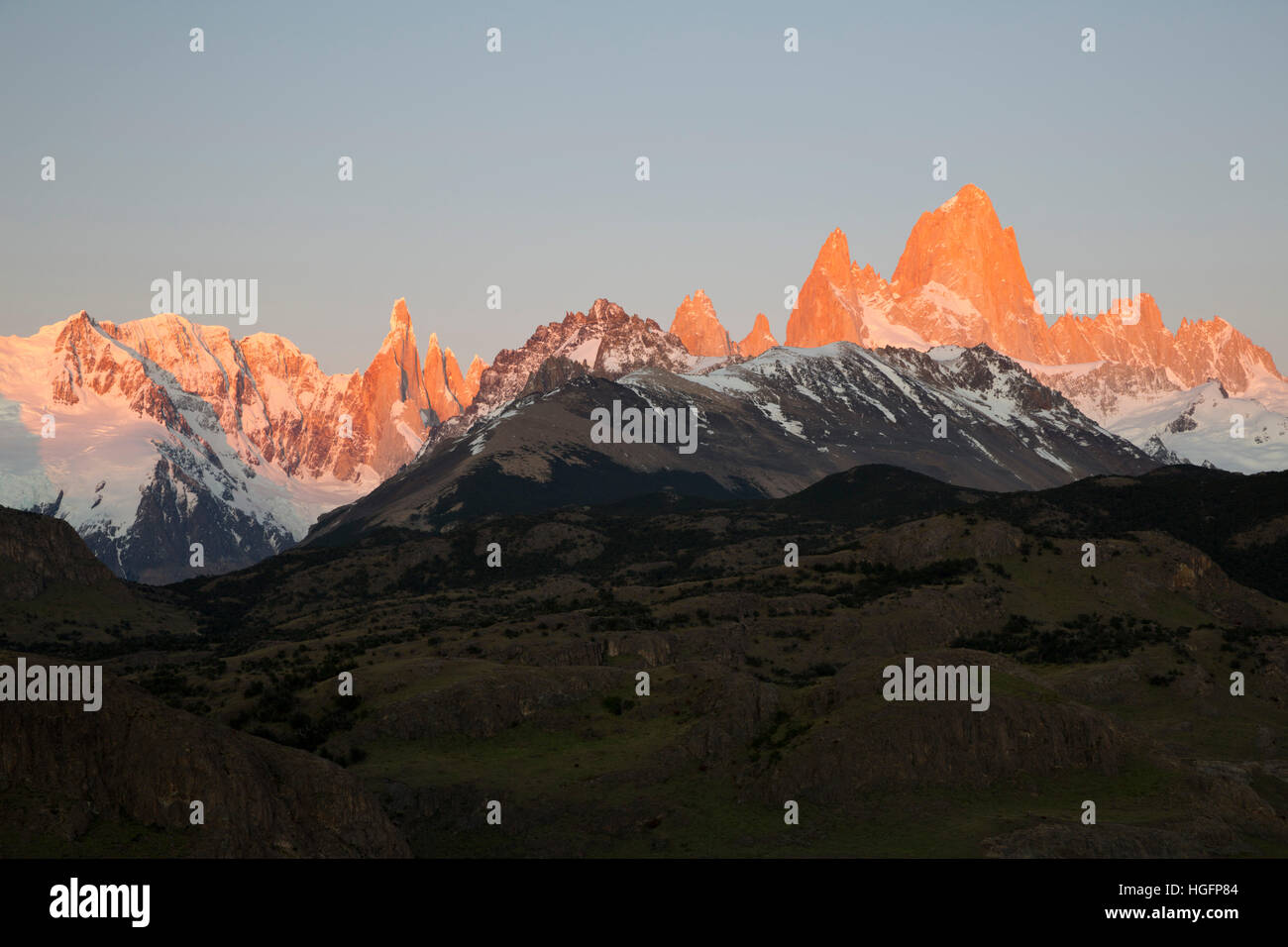 View of Mount Fitz Roy and Cerro Torre at sunrise from Mirador de los Condores, El Chalten, Patagonia, Argentina, - Stock Image