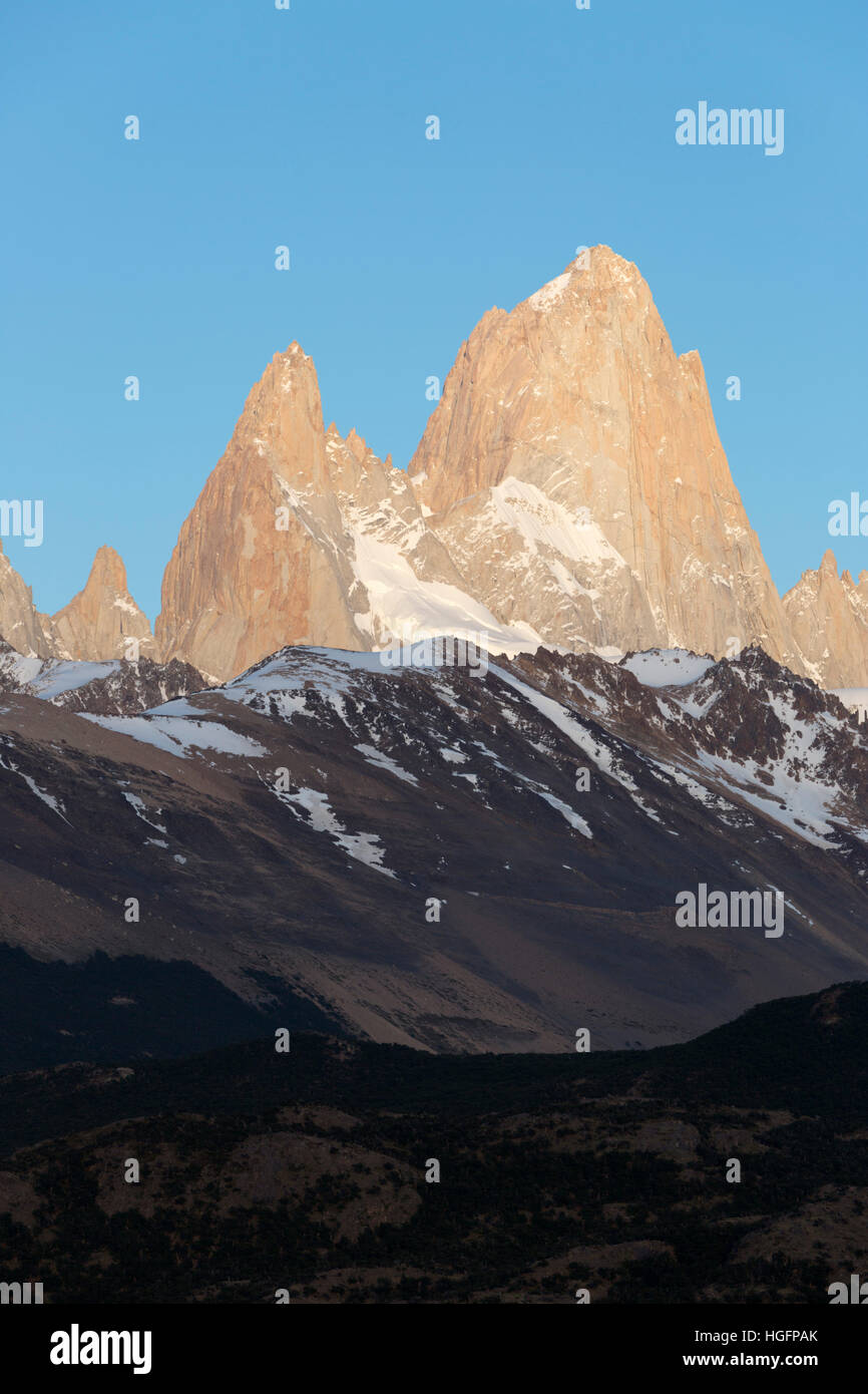 View over Mount Fitz Roy from Mirador de los Condores, El Chalten, Patagonia, Argentina, South America - Stock Image