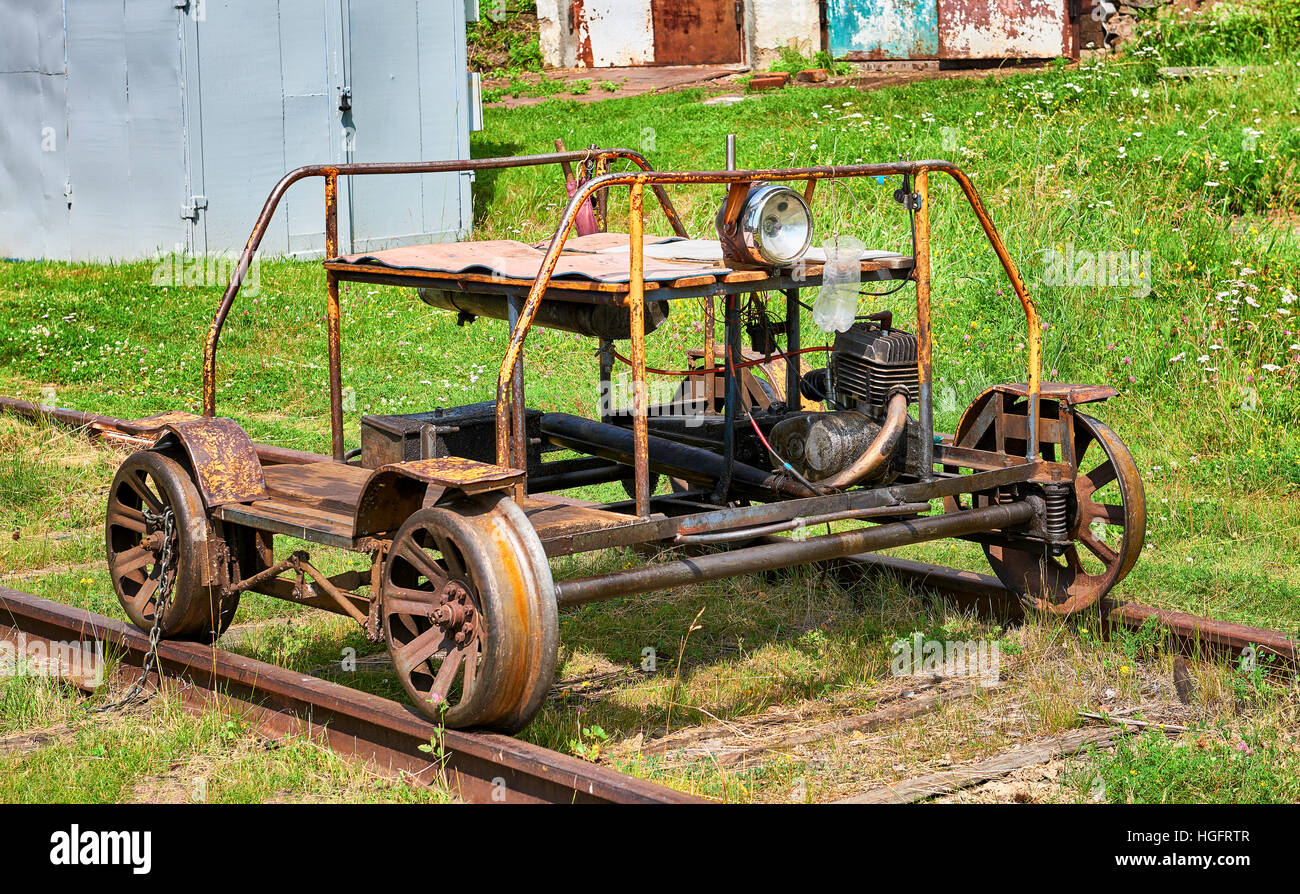 Railway trolley to broad gauge from internal combustion engine from a motorcycle - Stock Image