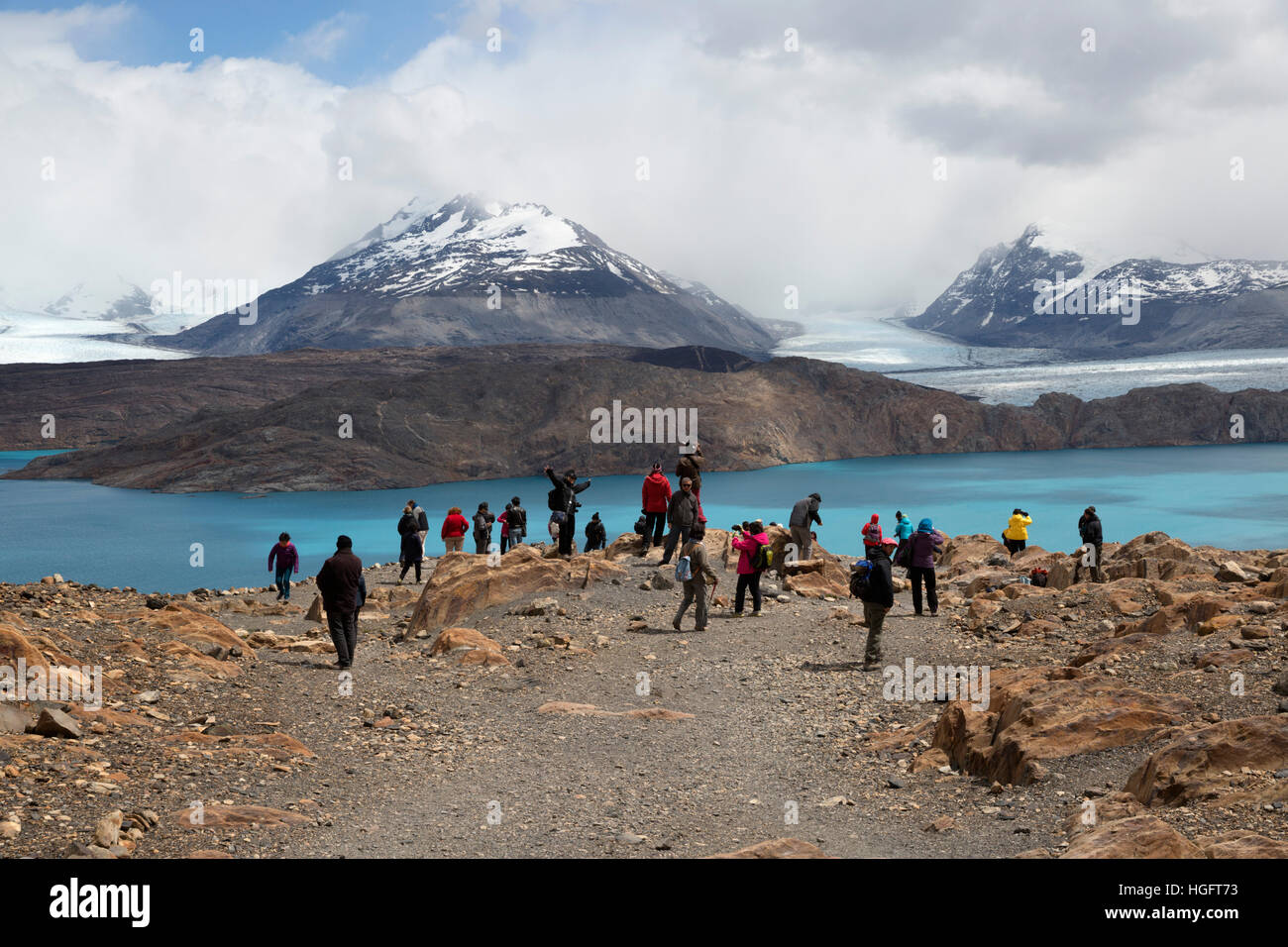 Tourists viewing Upsala Glacier on Lago Argentino, El Calafate, Parque Nacional Los Glaciares, Patagonia, Argentina - Stock Image