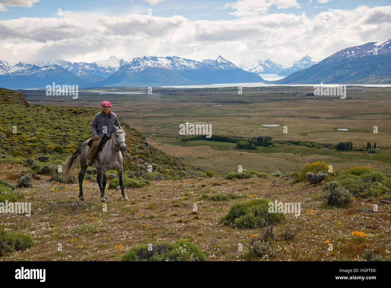 Gaucho on horseback at Estancia Alta Vista with the Andes and Perito Moreno Glacier, El Calafate, Patagonia, Argentina - Stock Image