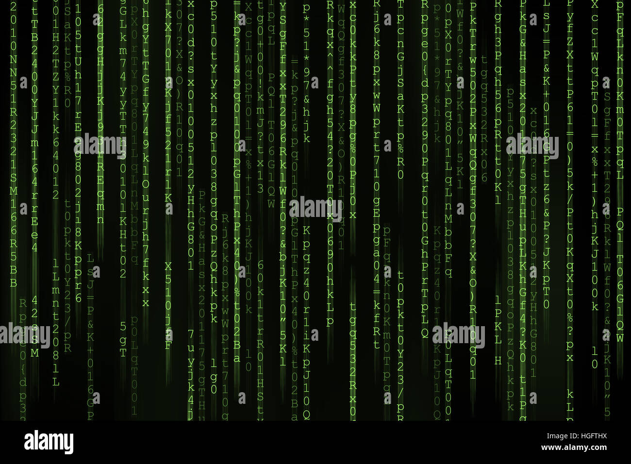 Matrix background with the green symbols - Stock Image