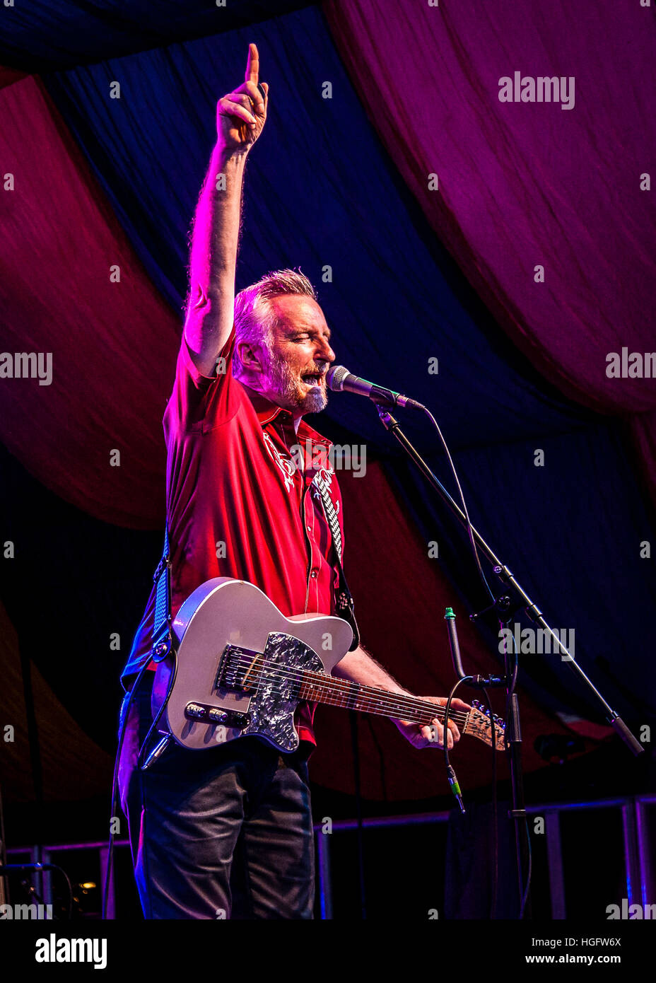Billy Bragg on stage at Moseley Folk Festival Stock Photo
