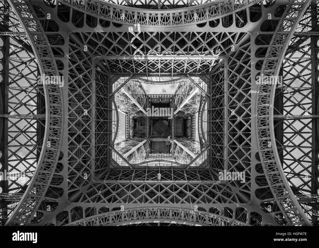 The Eiffel Tower, view from below, Paris France - Stock Image