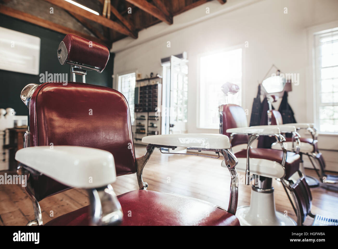 Hair Salon Interior With Empty Chairs Retro Styled Barbershop Stock