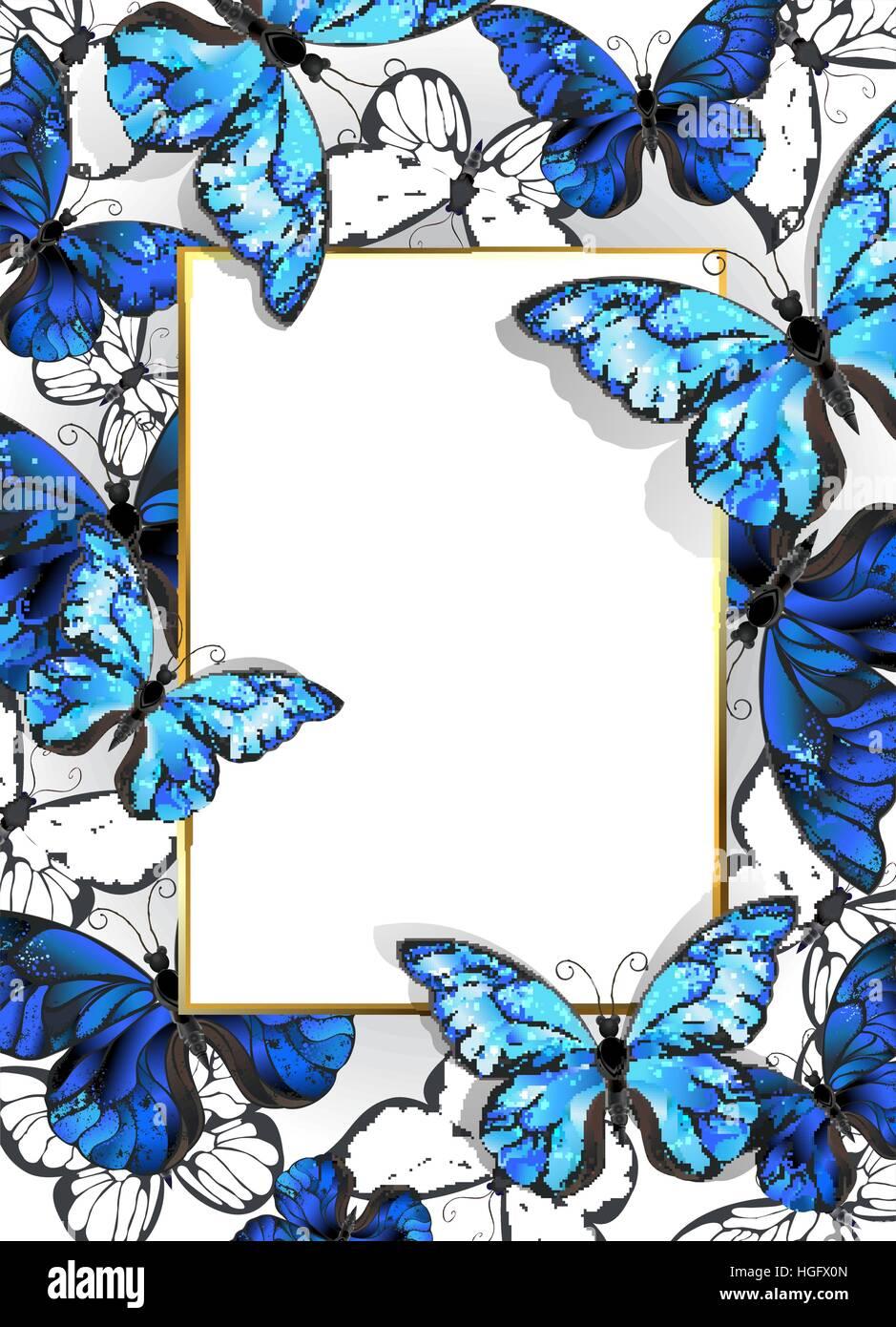 Luxury Gold Butterflies On Blue Stock Photos & Luxury Gold ...