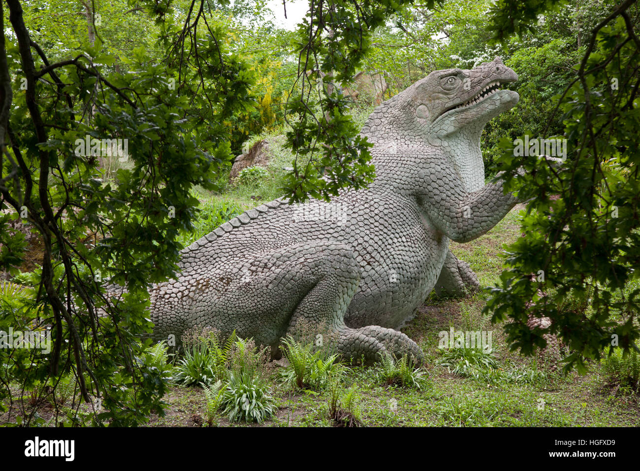 Dinosaurs Sculptures In Crystal Palace Park, London, UK   Stock Image
