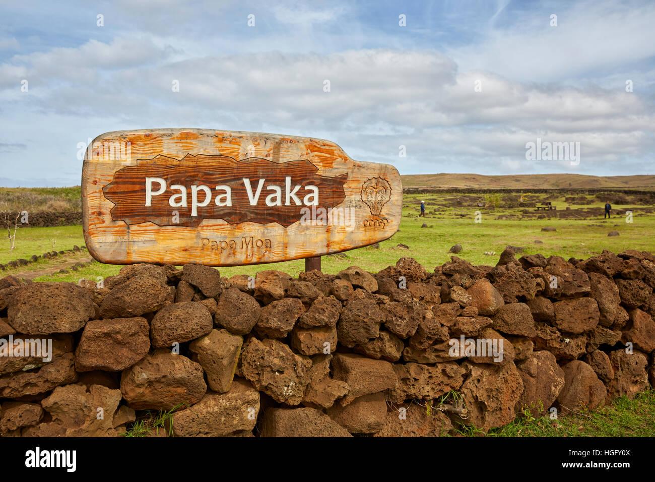 Papa Vaka sign, Easter Island, Chile - Stock Image