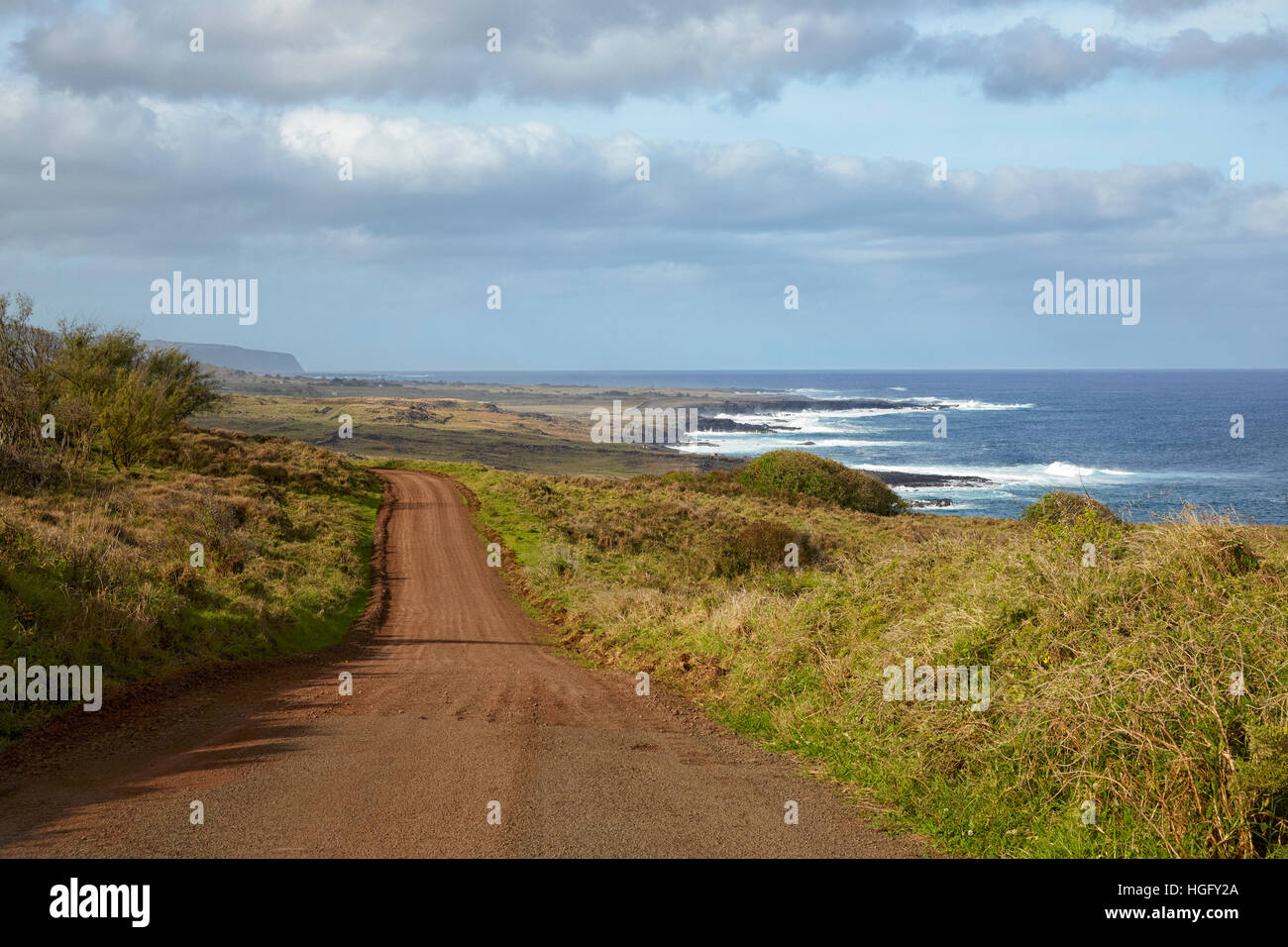 Southern shore road, Easter Island, Chile - Stock Image