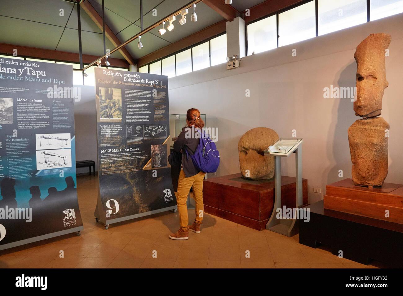 Inside Anthropological museum, Museo Antropologico Padre Sebastian Englert, Easter Island - Stock Image
