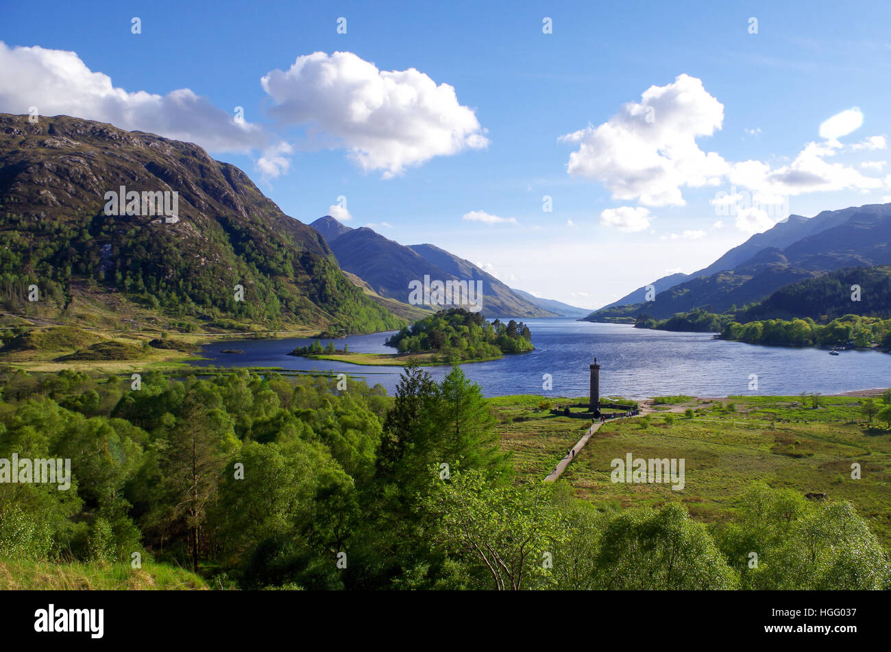 Aerial view of Loch Shiel and Glenfinnan monument in Scotland - Stock Image