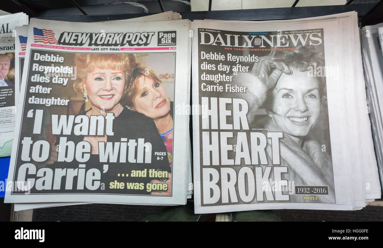 Front pages and headlines of the New York tabloid newspapers on Thursday, December 29, 2016 report on the previous - Stock Image