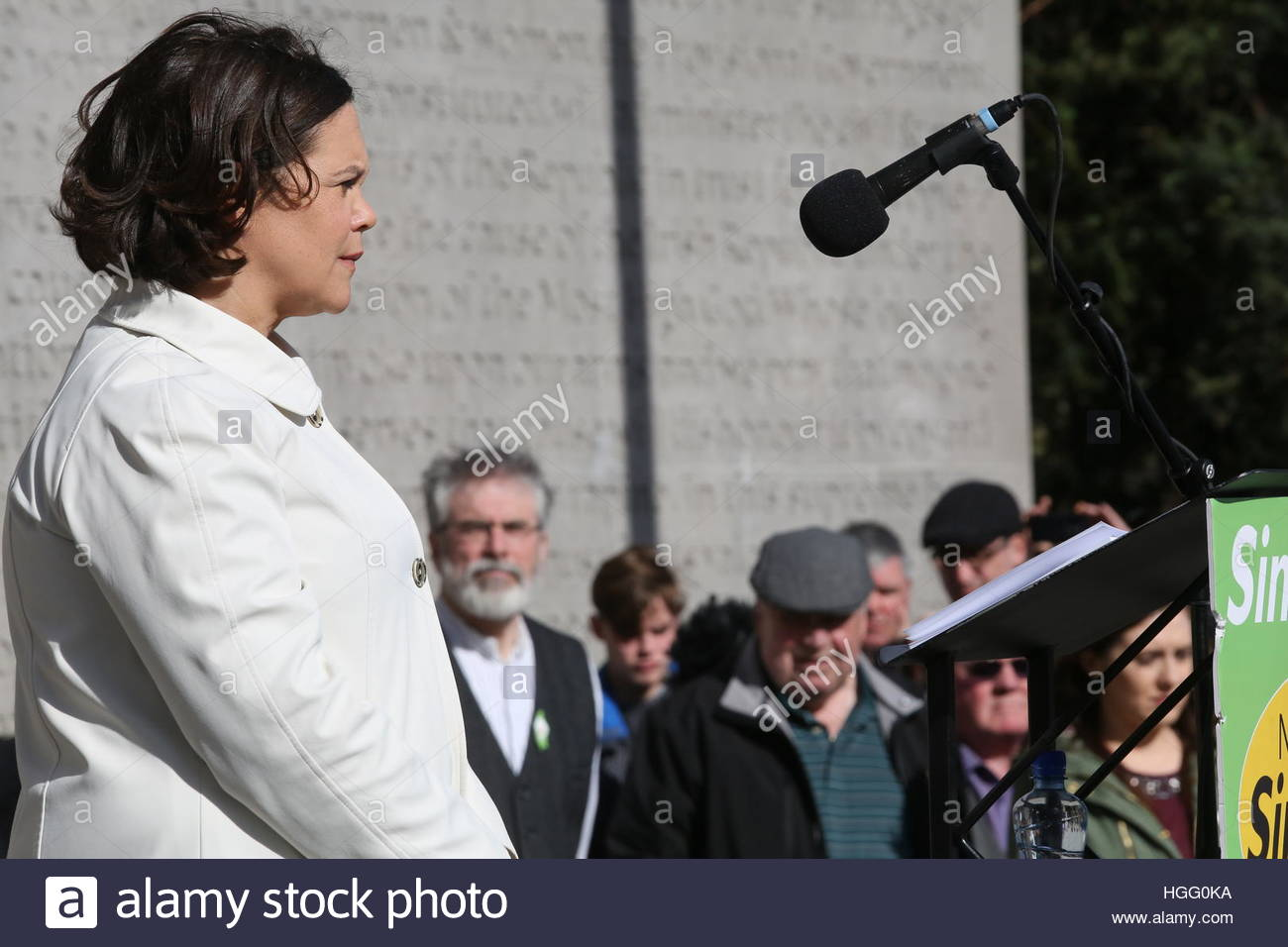 Mary Lou McDonald prepares to speak at the Arbour Hill Sinn Féin ceremony which was held as part of 1916 anniversary - Stock Image