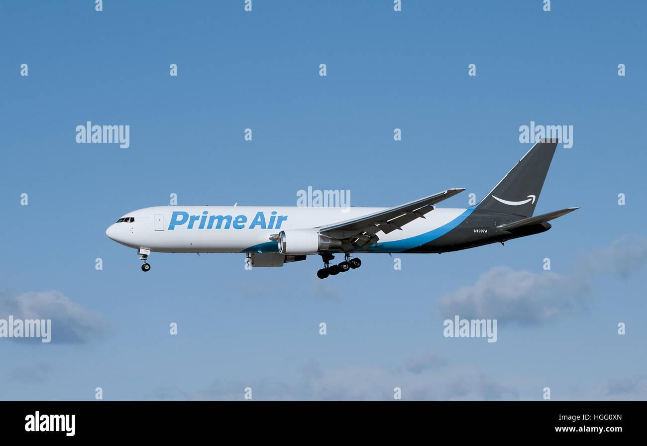 Amazon One Prime Air Cargo Jet Landing at Allentown, Pennsylvania - Stock Image