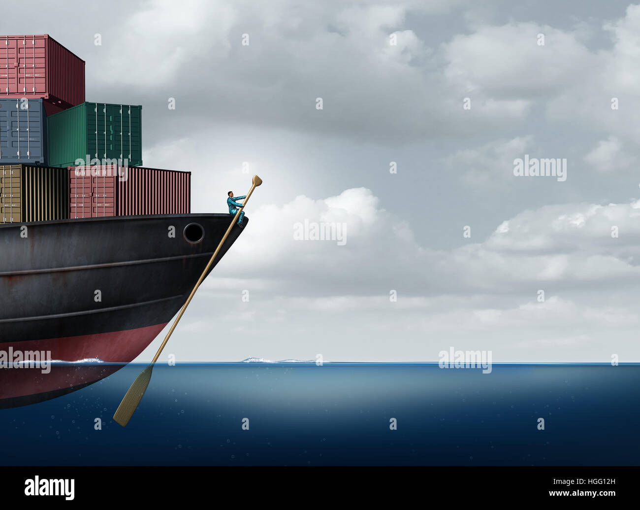 Shipping cargo leadership as a businessman or logistics manager navigatying a freight ship using an oar as an import - Stock Image