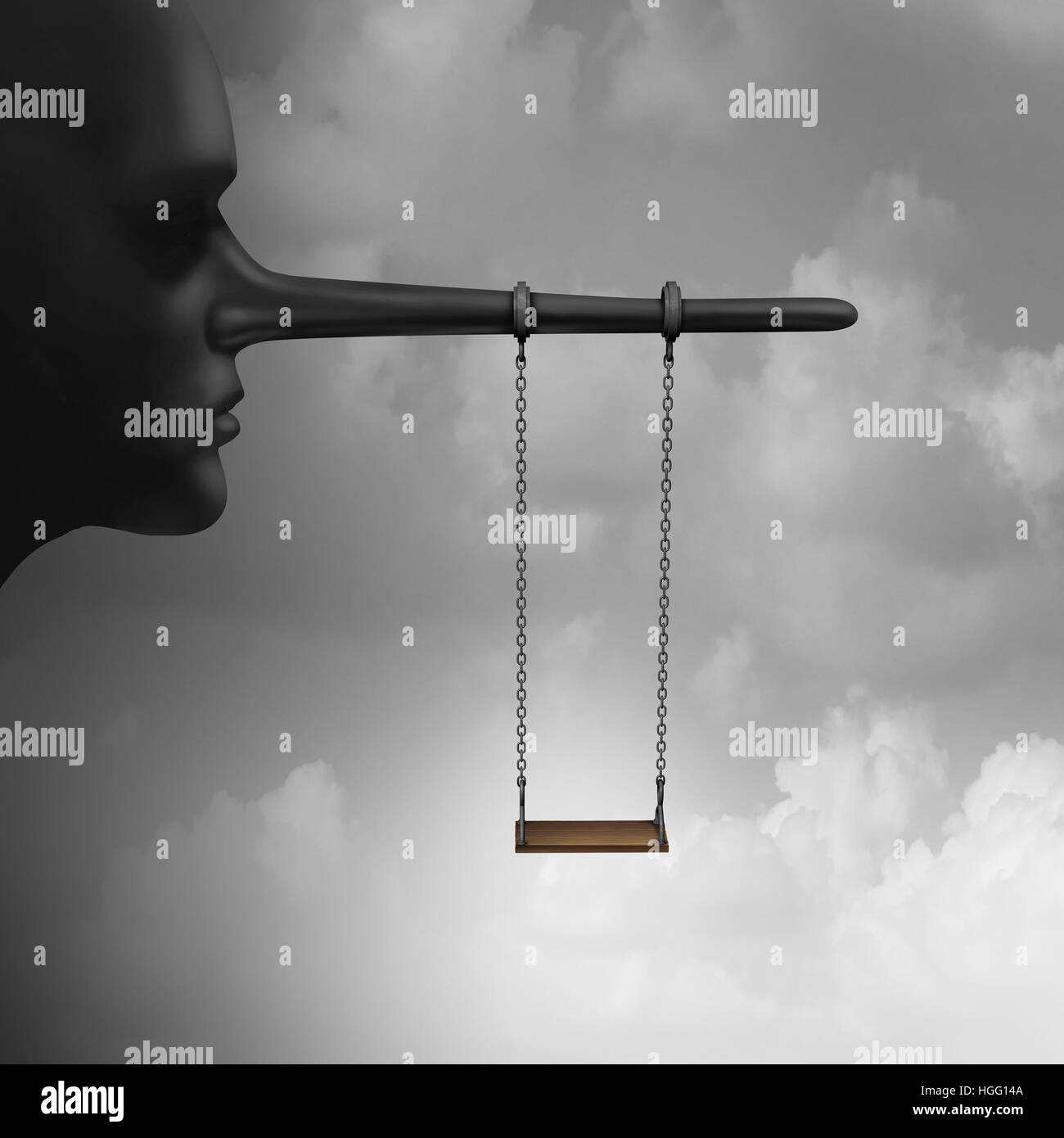 Lying to children and trust psychology of lies to kids concept as a playground child swing hanging from a long nose - Stock Image