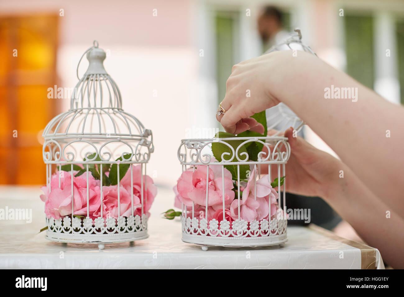 Wedding Floral Decoration In Beautiful Vintage Birdcage Wedding