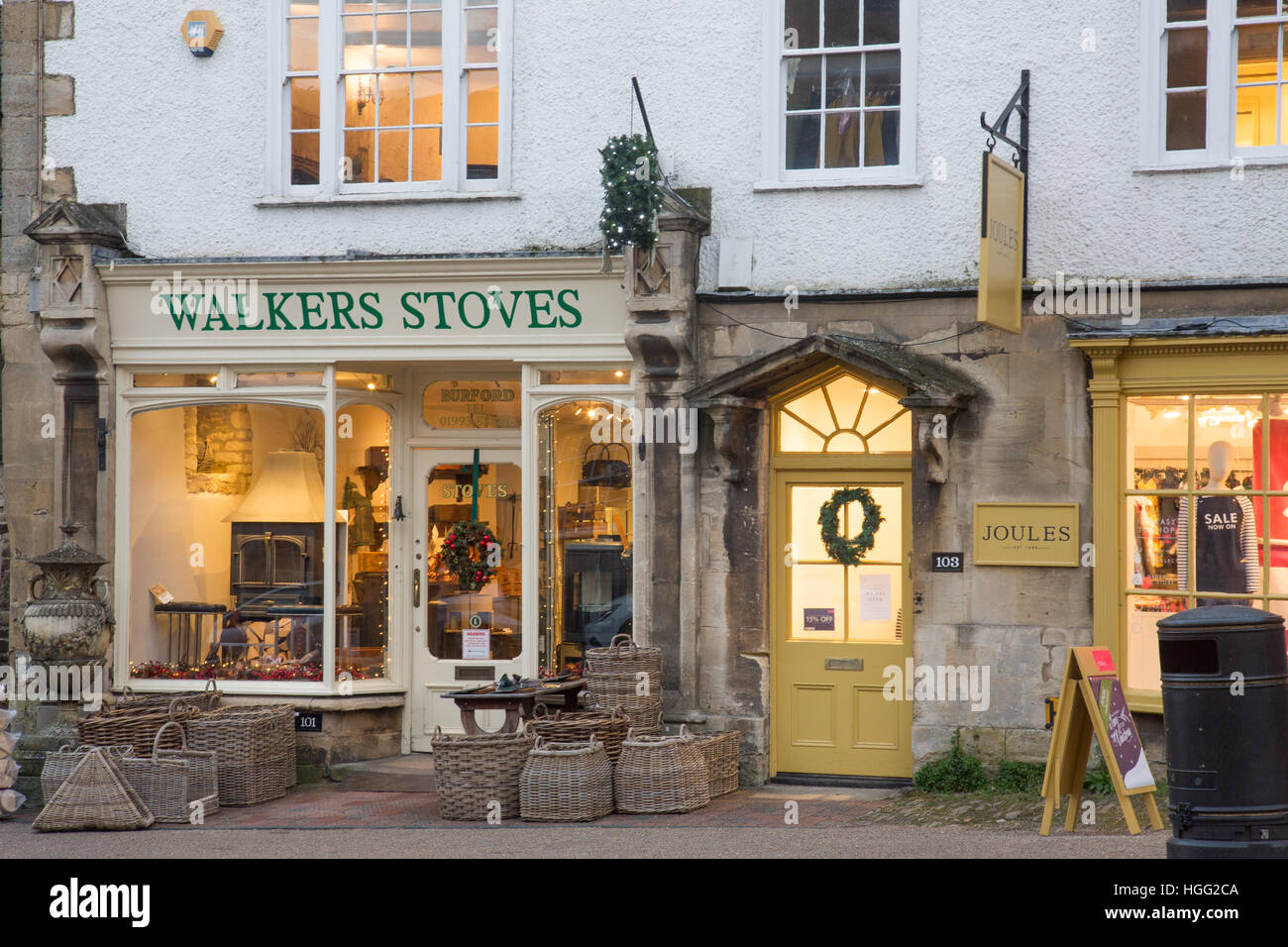 Fireplace shop selling stoves real fires, in Burford high street ,Cotswolds,Oxfordshire,England - Stock Image