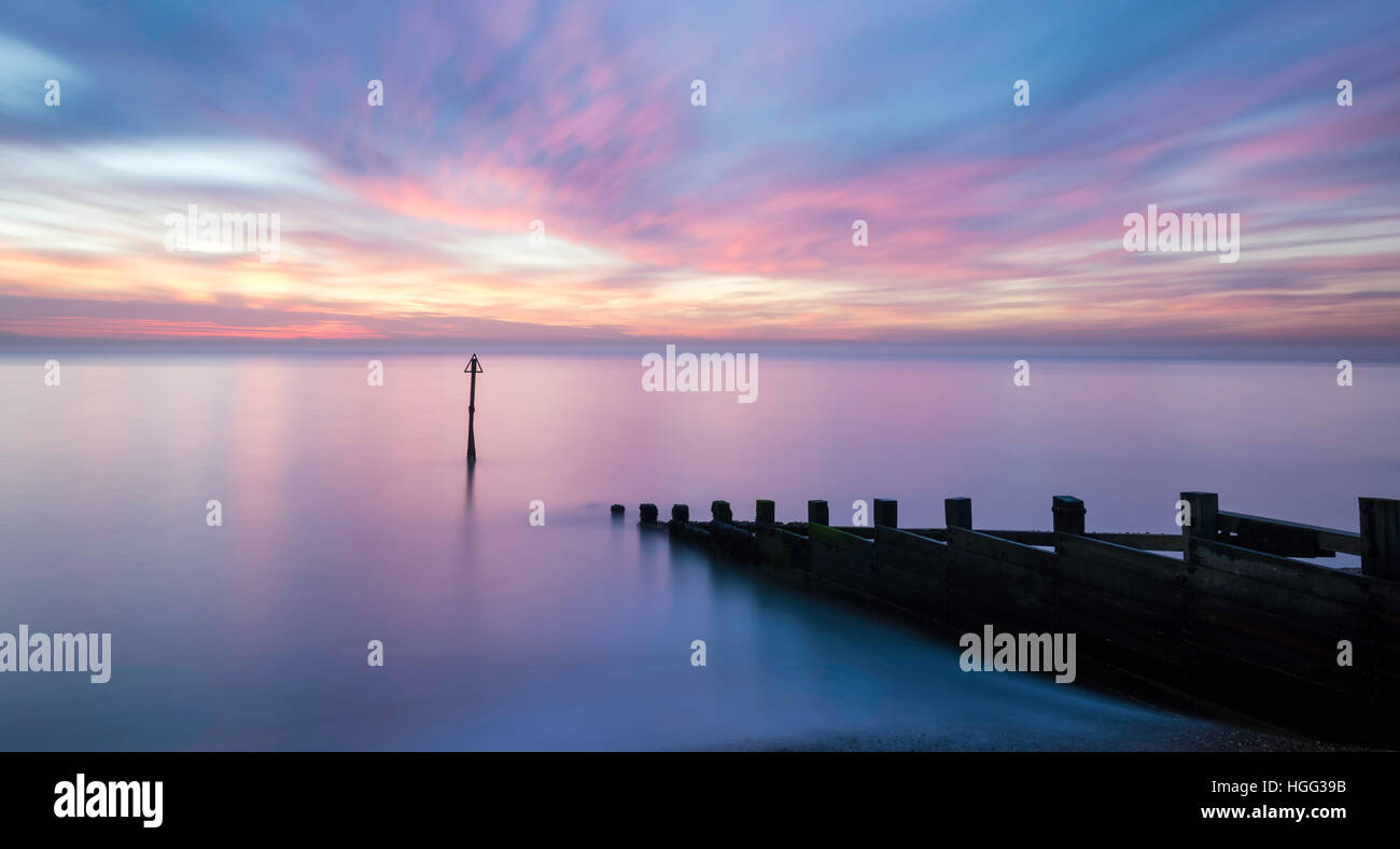 Sunset over the North Sea from Felixstowe sea front - Stock Image