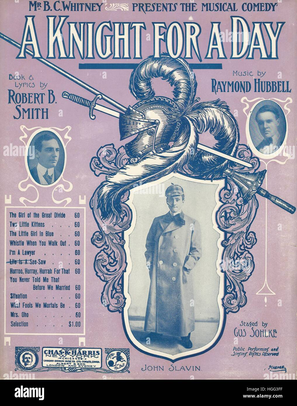 'A Knight for a Day' 1907 Musical Sheet Music Cover - Stock Image