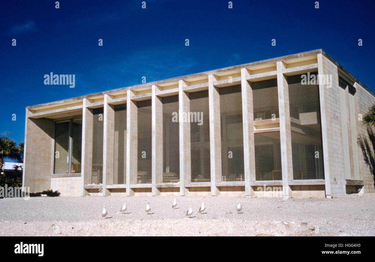 Exterior detail of the house Paul Rudolph designed for the Deering family, built for Frederick Deering in 1956-58, - Stock Image