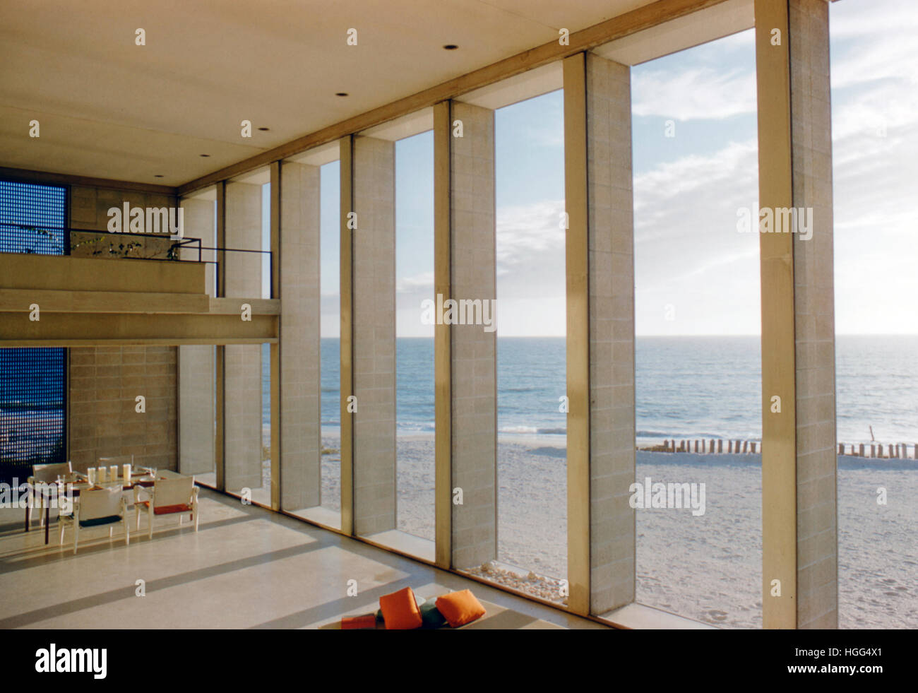Interior detail of the house Paul Rudolph designed for the Deering family, built for Frederick Deering in 1956-58, - Stock Image