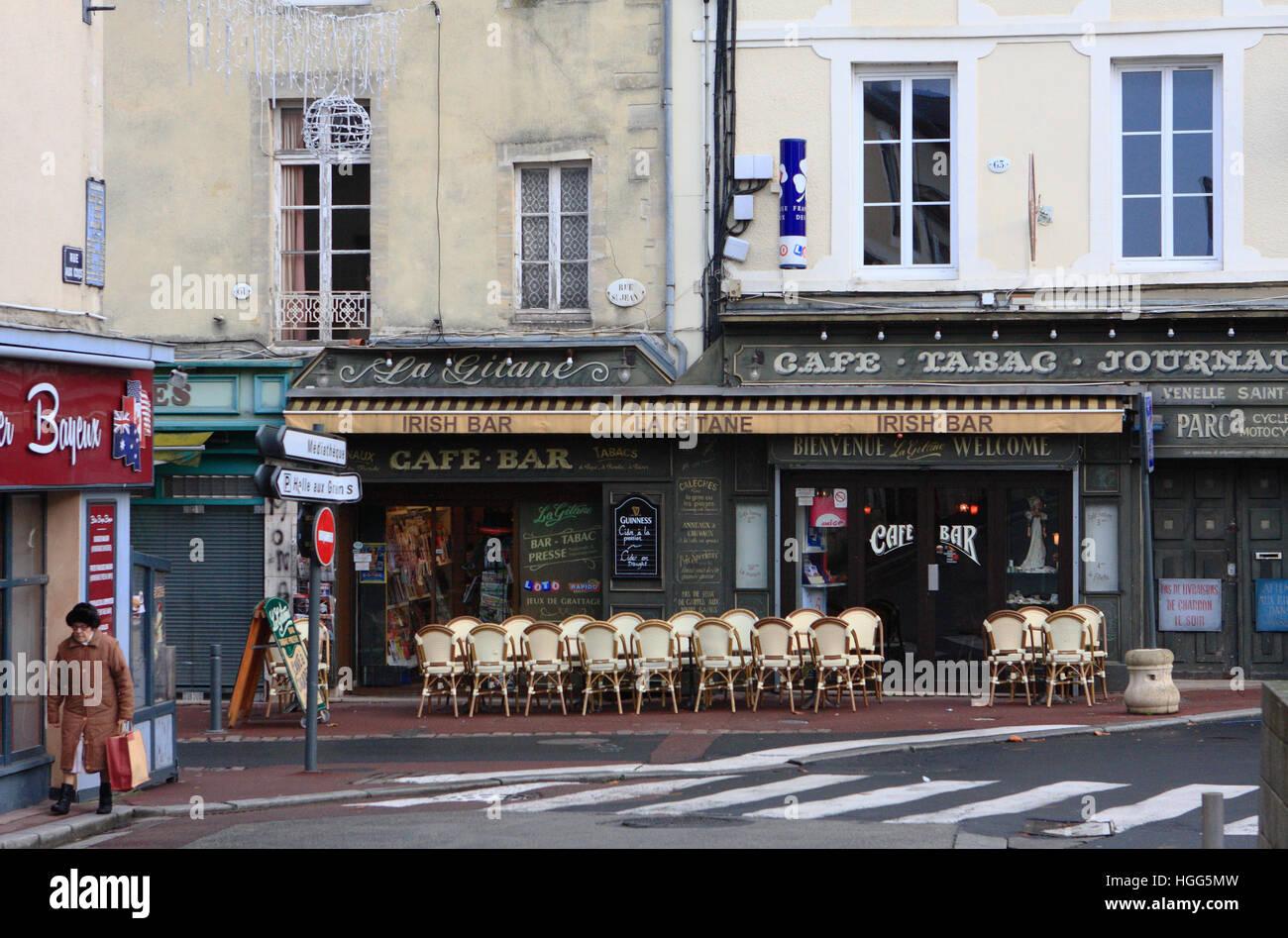 An Irish cafe bar in Bayeux, Normandy, France. Stock Photo