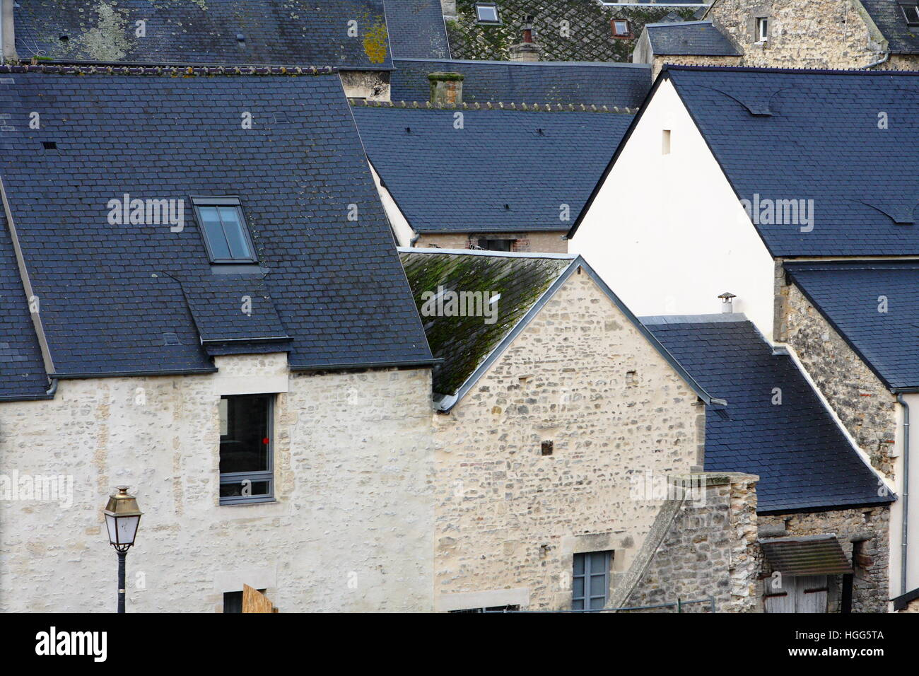 A view across rooftops of buildings in Bayeux, Normandy, France Stock Photo
