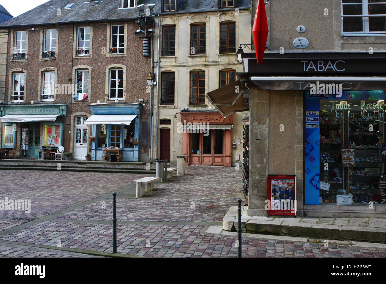 A view of commercial buildings in Bayeux, Normandy, France. Stock Photo