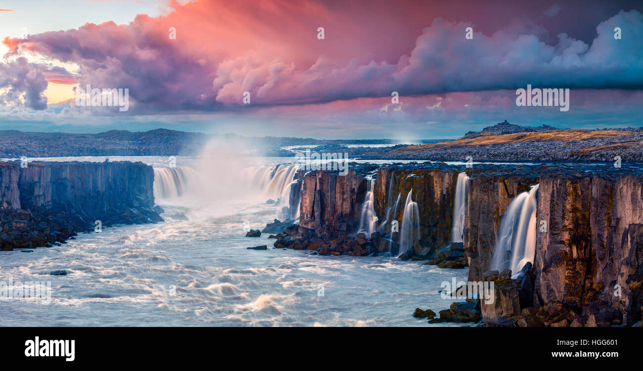 Colorful summer landscape on Jokulsa a Fjollum river.Beautiful sunrise on the Selfoss Waterfall in Jokulsargljufur - Stock Image
