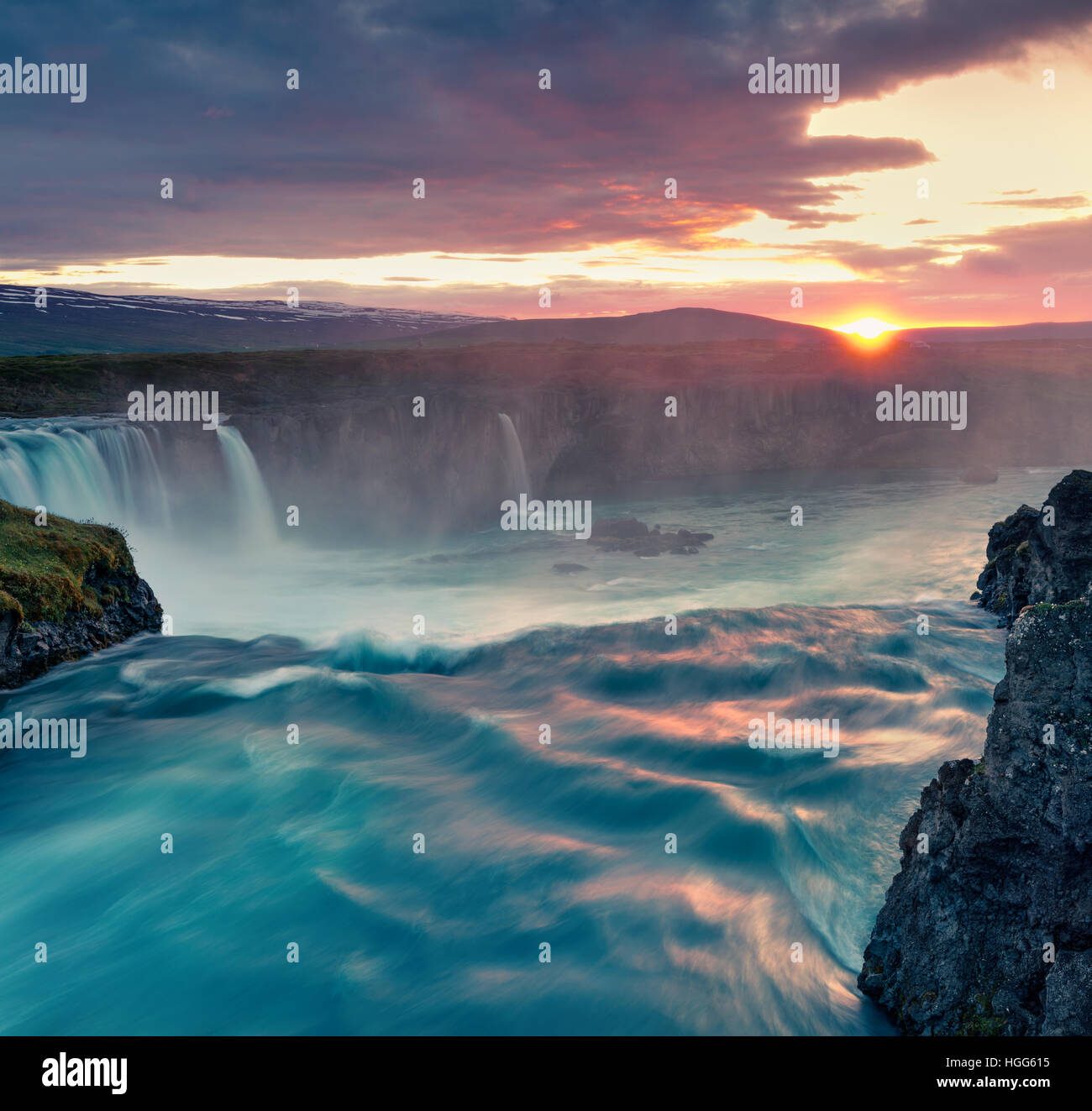 Summer morning scene on the Godafoss Waterfall. Colorful sunset on the on Skjalfandafljot river, Iceland, Europe. - Stock Image