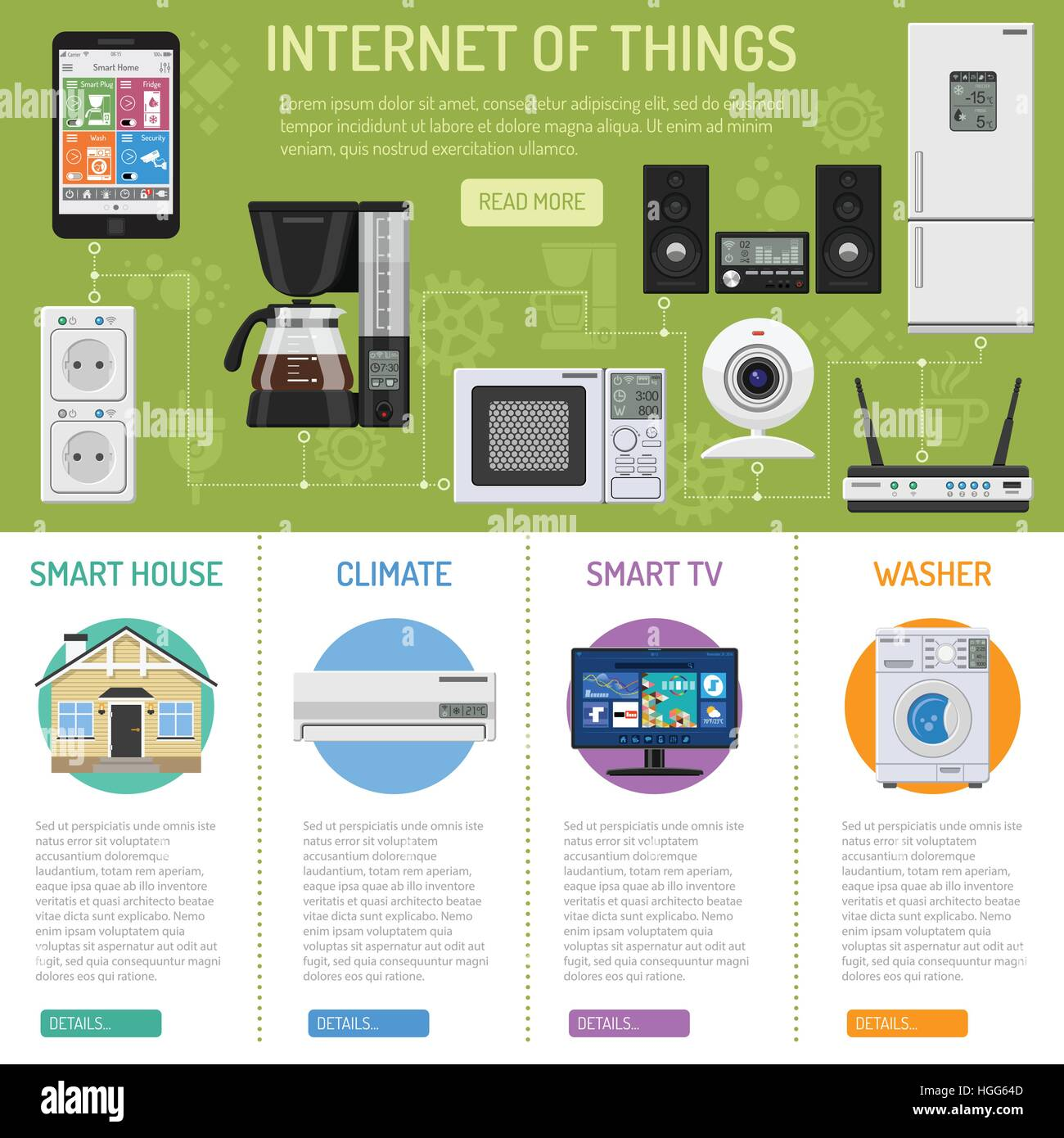 Smart House and internet of things - Stock Image