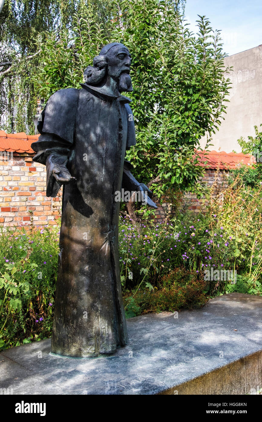 Berlin,Neukölln,Richardstrasse. Comenius garden. Bronze statue of philosopher John Amos Comenius in the Bohemian - Stock Image