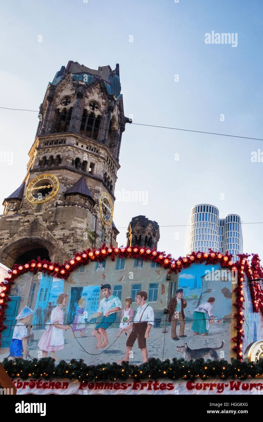 Breitscheidplatz, Berlin. Site  of 2016 terrorist attack by truck driver on German Christmas Market at Kaiser Wilhelm - Stock Image
