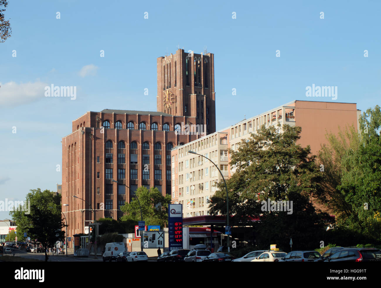 The Ulsteinhaus Tower from the south west, seen from MariendorferDamm. - Stock Image