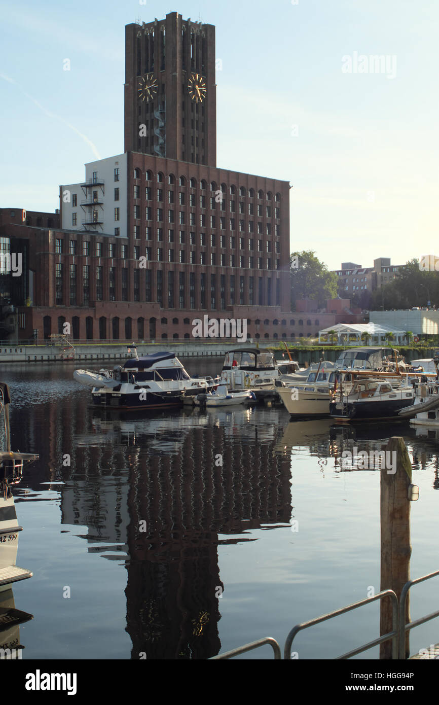 Ullsteinhaus Tower from the north east, seen from the Tempelhof Canal Basin - the Tempelhofer Hafen on the Teltow - Stock Image