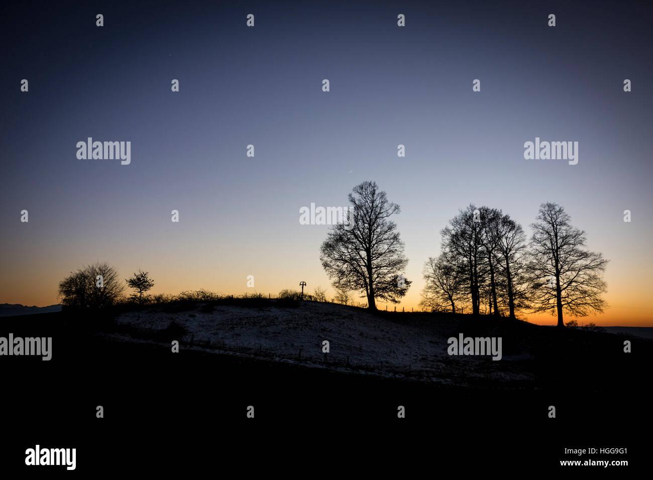 Dawn, Bavarian Landscape Silhouette - Stock Image
