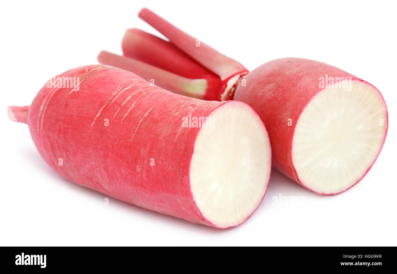 Closeup of red radish over white background Stock Photo