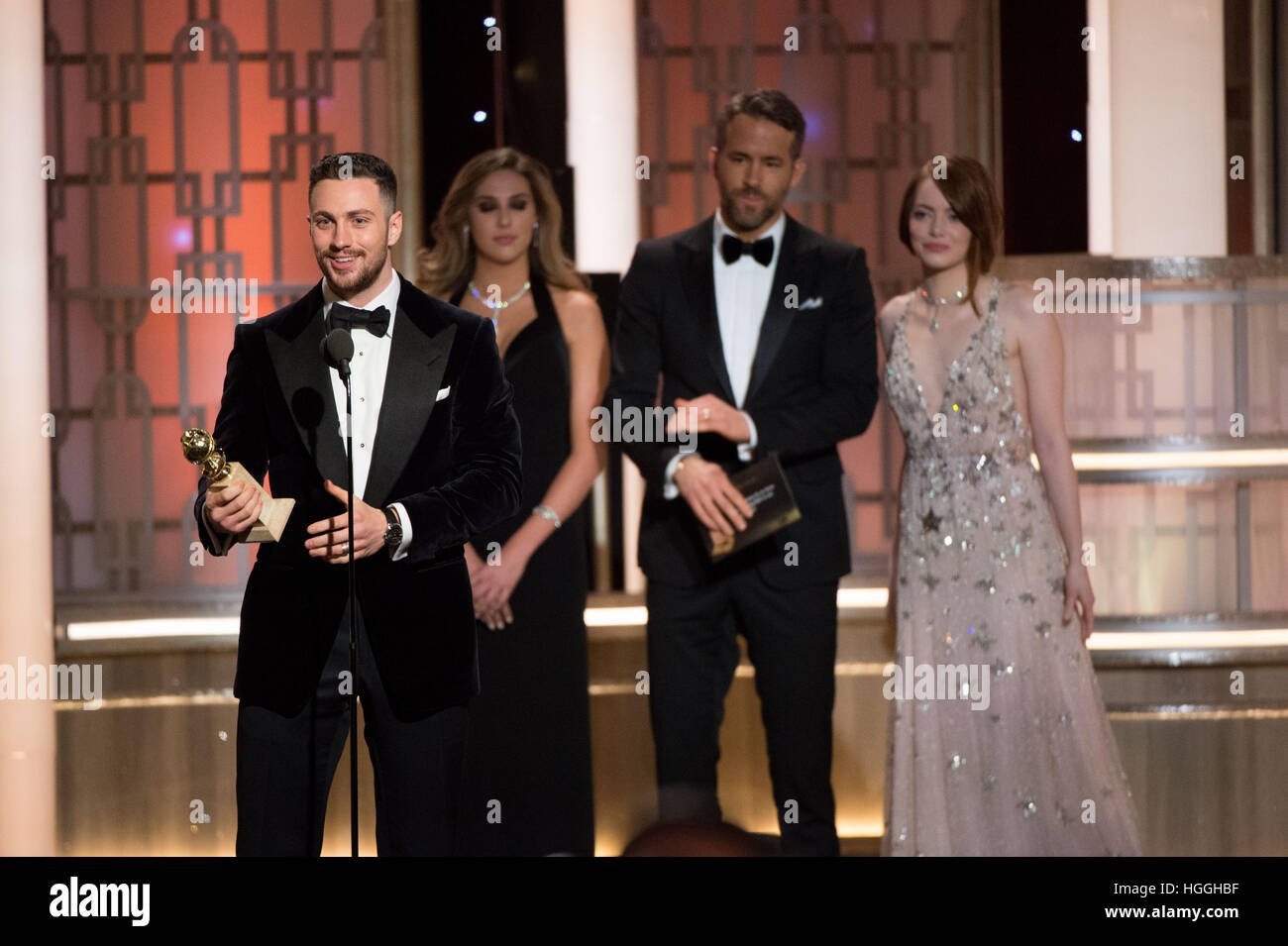 Beverly Hills, CA, USA. 8th Jan, 2017. Aaron Taylor-Johnson. 74th Annual Golden Globes Awards held at the Beverly - Stock Image