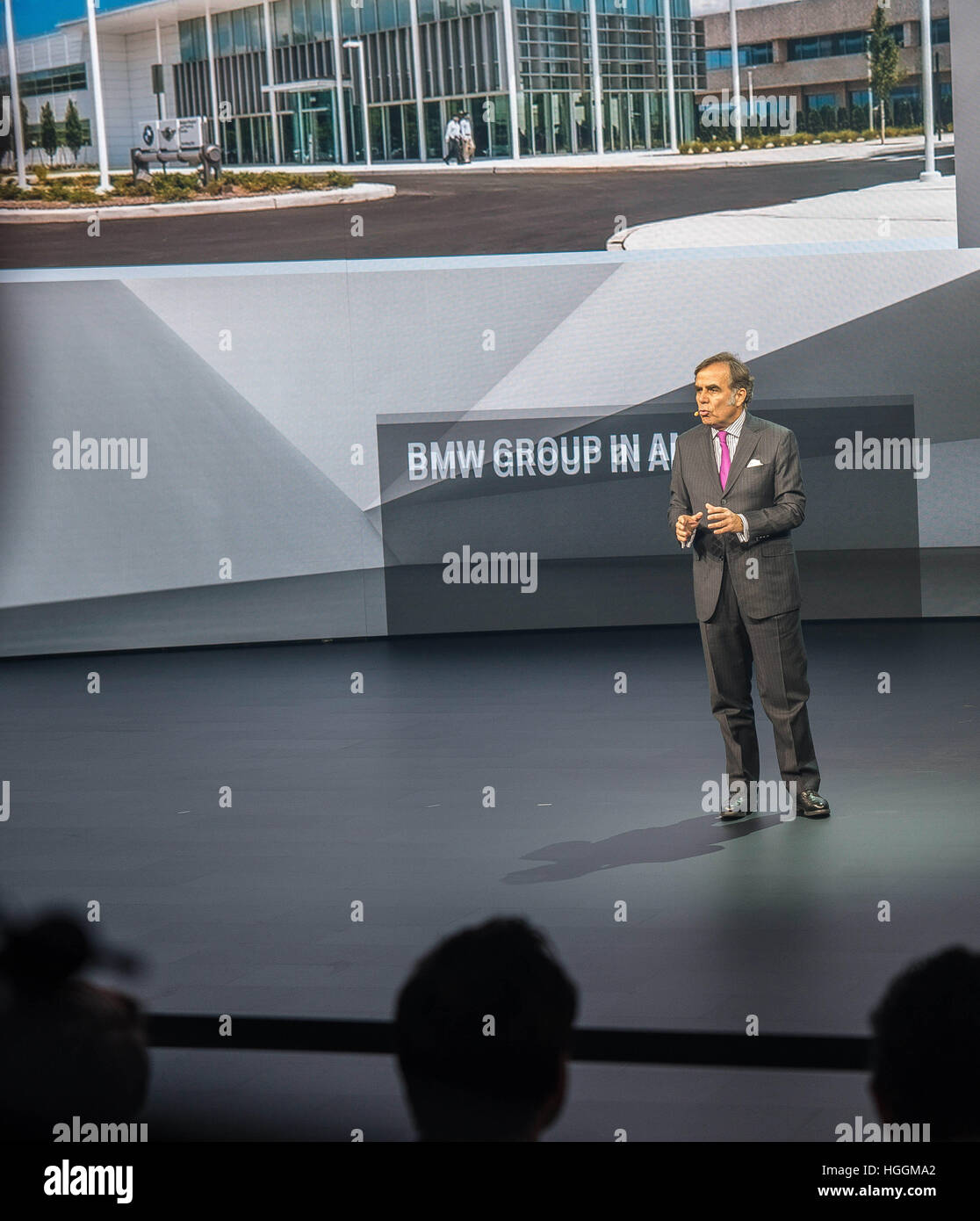 Detroit, USA. 9th Jan, 2017. LUDWIG WILLISCH, CEO and president of BMW speaks at the North American International Stock Photo