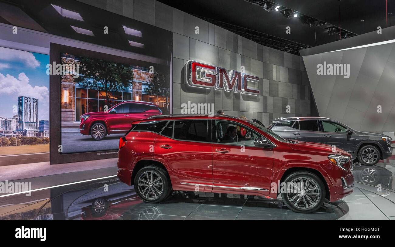 Detroit, USA. 9th Jan, 2017. The GMC TERRAIN RWD dazzles at the North American International Auto Show 2017 in Detroit, - Stock Image