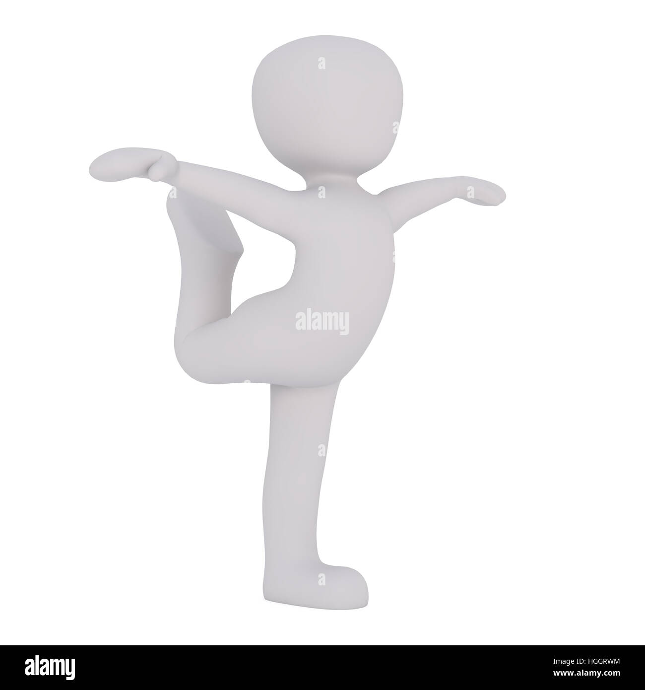 3d Rendering of Cartoon Figure Dancing in Elegant Pose with Bent Leg and Extended Arms in front of White Background Stock Photo