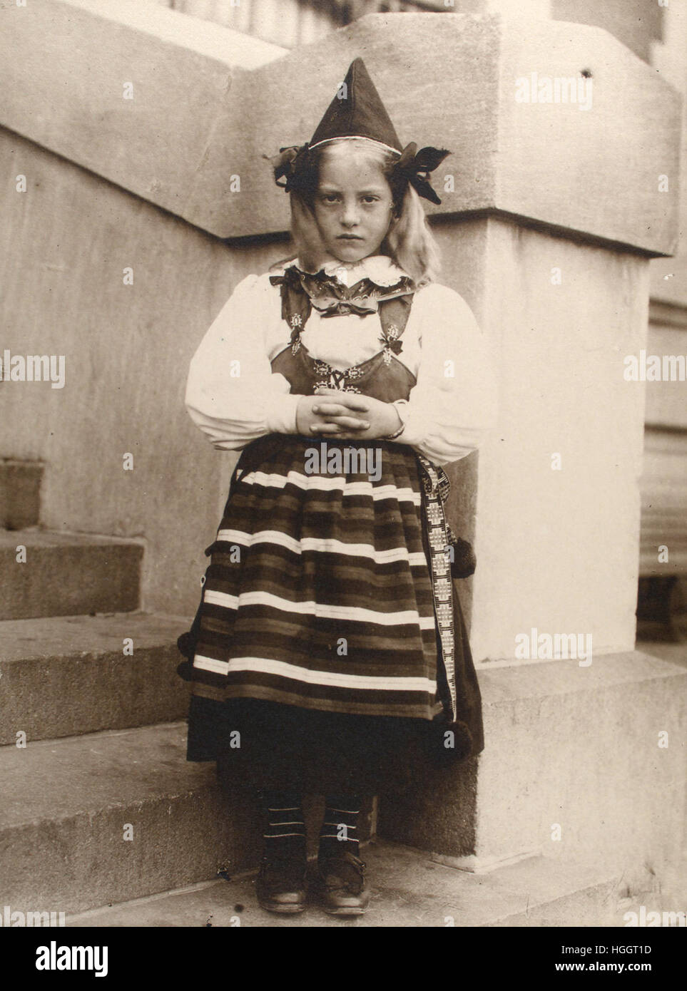 Portrait of Girl from Rättvik, province of Dalarna, Sweden - Ellis Island Immigration Station 1902-1913 - Photo - Stock Image