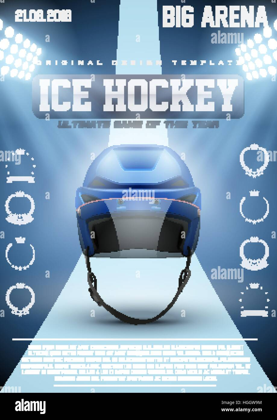 Poster Template Ice Hockey Games With Player Helmet Cup And Tournament Advertising Sport Event Announcement Vector Illustration