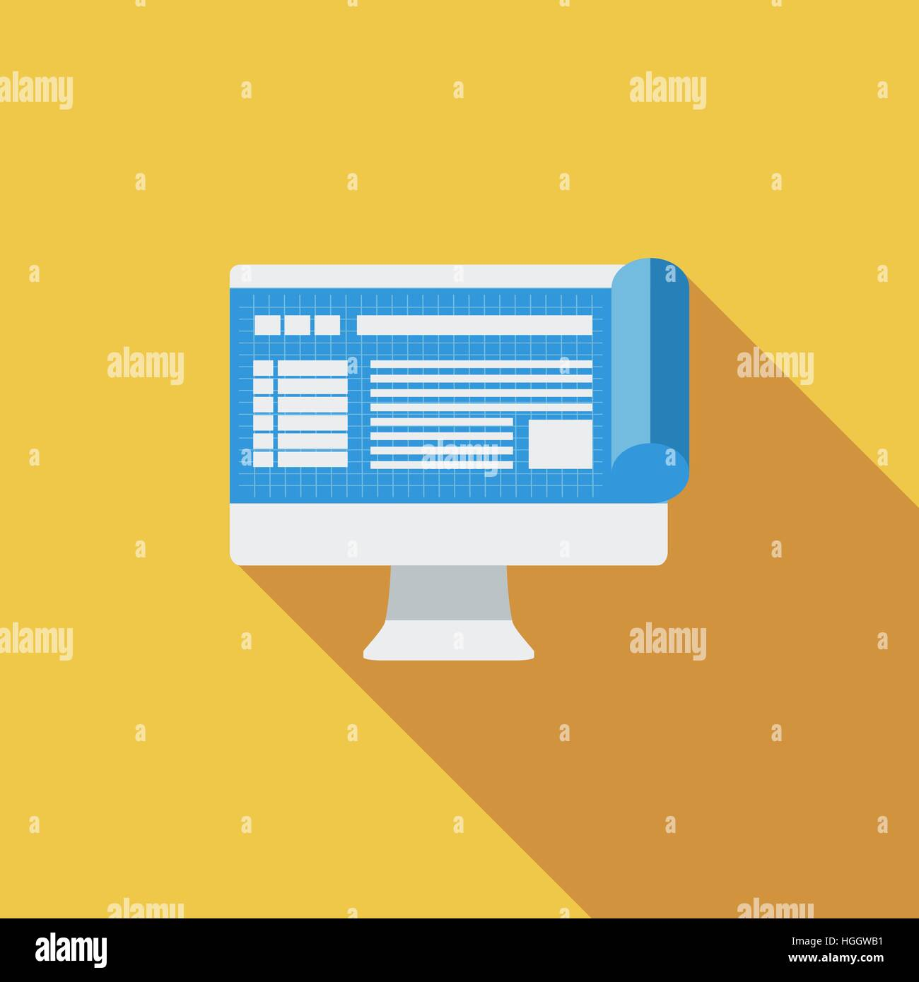 Monitor whit blueprint icon flat vector related icon with long monitor whit blueprint icon flat vector related icon with long shadow for web and mobile applications it can be used as logo pictogram icon inf malvernweather Images