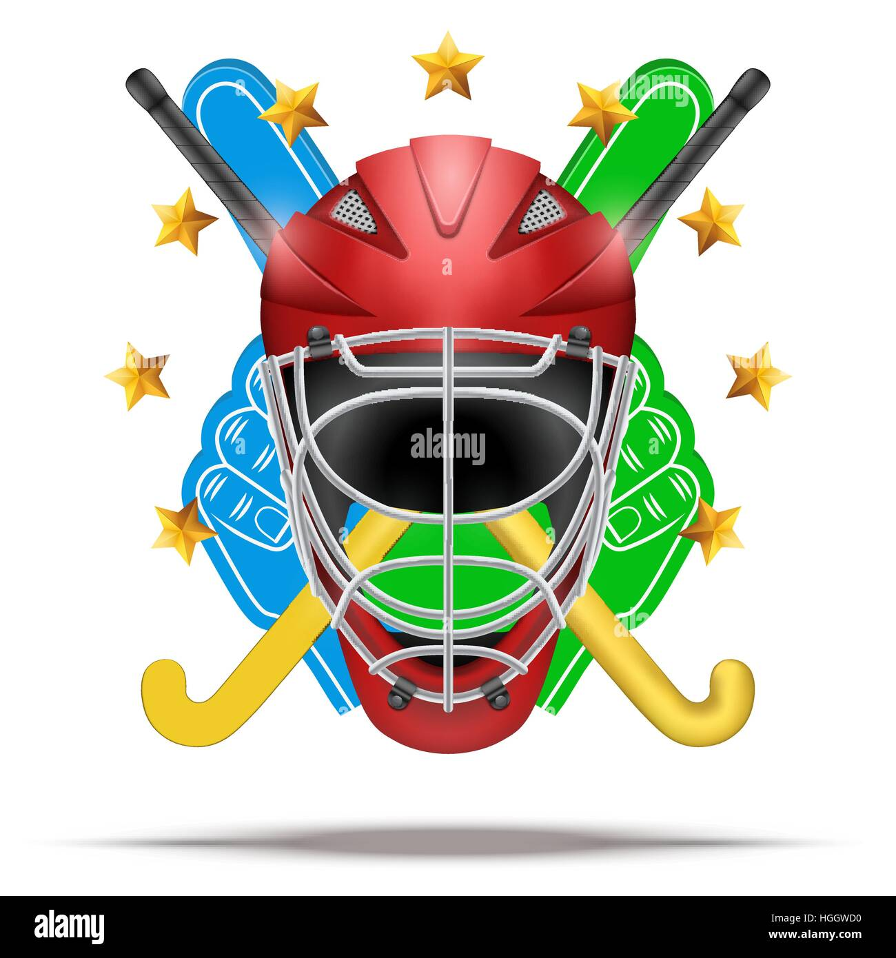 Outdoor hockey field symbol with helmet and sticks. Hockey on grass. Illustration isolated on white background. - Stock Image