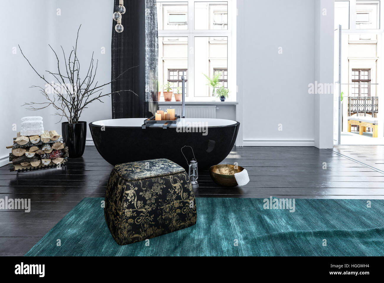 Unusual black boat shaped bath tub in an oriental style bathroom ...